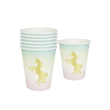 Pink Unicorn Party Cups - pack of 12